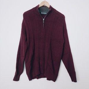 PGA Tour Maroon Cotton Knit Ribbed Sweater